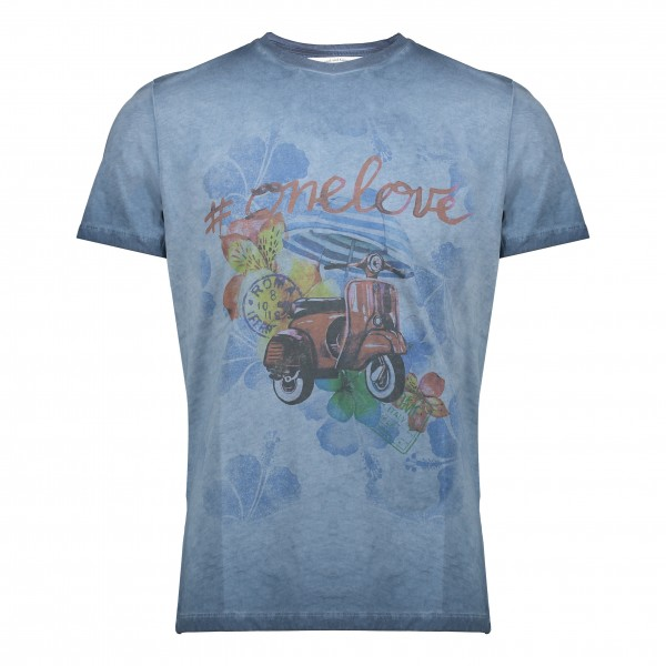 BoB t-shirt print scooter jeansblauw Hell055 Copy Tinto Freddo