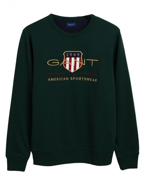 Gant sweater Archive Shield groen crew neck