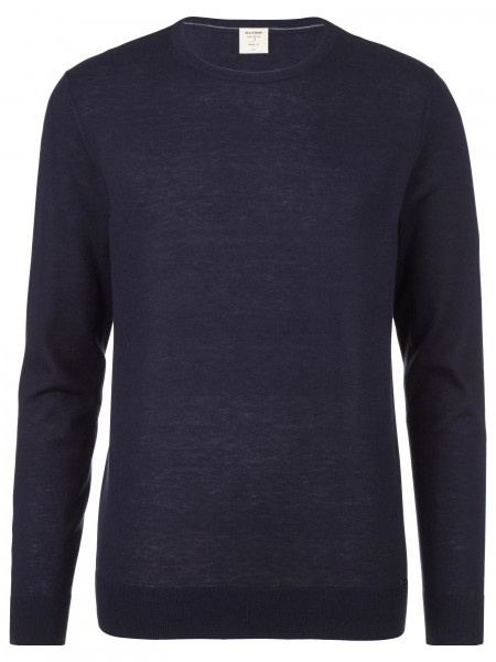 Olymp level 5 Body fit pullover ronde hals navy 015111-18
