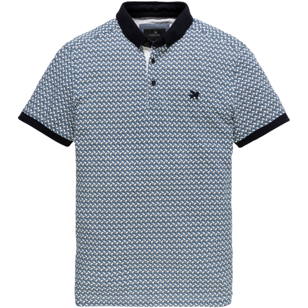 Vanguard polo korte mouw blauw pique stretch VPSS191610