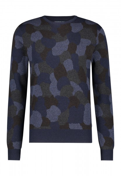 State of Art pullover ronde hals print blauw 20087
