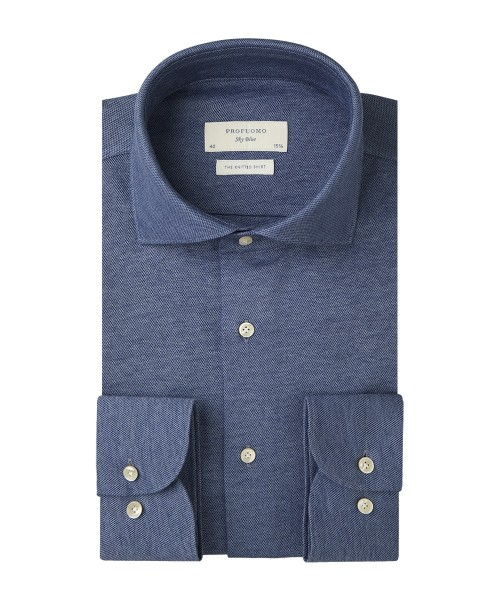 Profuomo Sky Blue overhemd knitted shirt jeansblauw