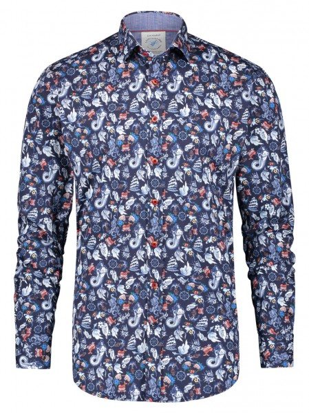 A Fish named Fred Mermaid shirt navy red 23.01.018
