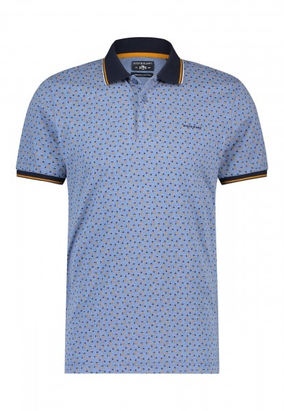 State of Art polo korte mouw print blauw 11531