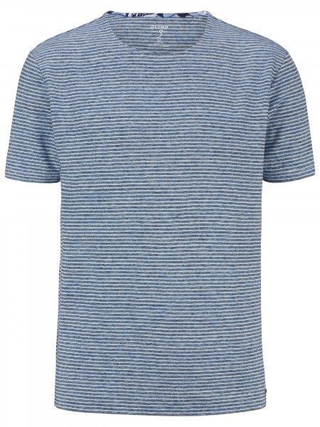 Olymp Level Five t-shirt Body fit streep blauw 566272