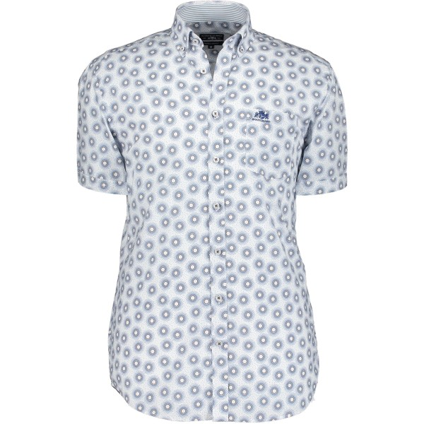 State of Art overhemd shirt korte mouw print wit 10403-5784