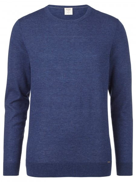 Olymp level 5 Body fit pullover ronde hals jeans 015111-19