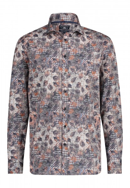 State of Art overhemd regular fit print blauw bruin 20319