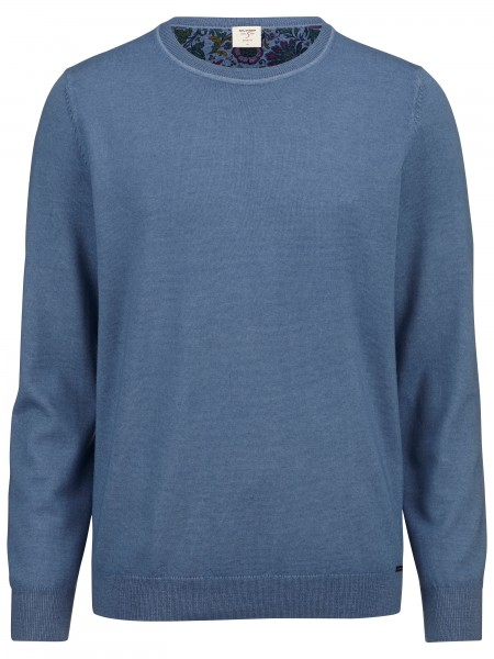 Olymp level 5 pullover washed merino jeansblauw 535165