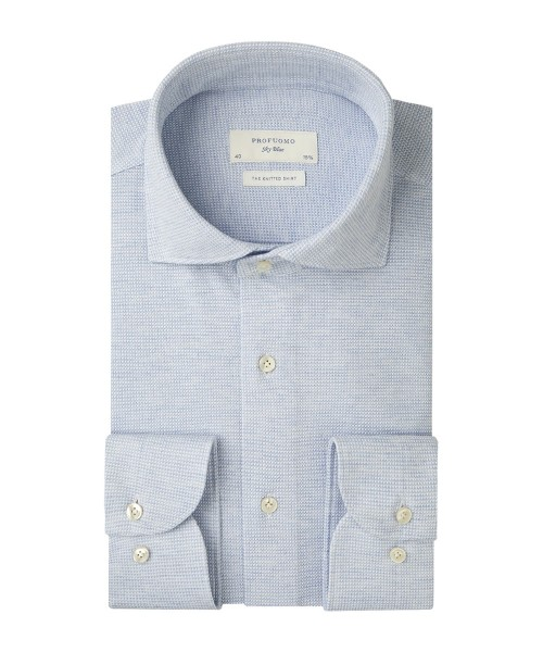 Profuomo Sky Blue overhemd knitted shirt blauw