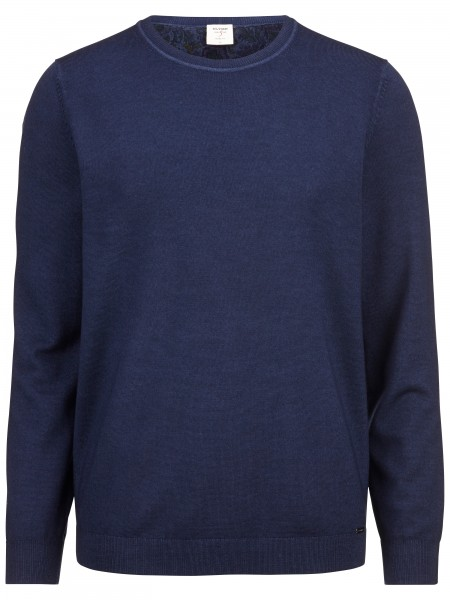 Olymp level 5 pullover washed merino donkerblauw 535165