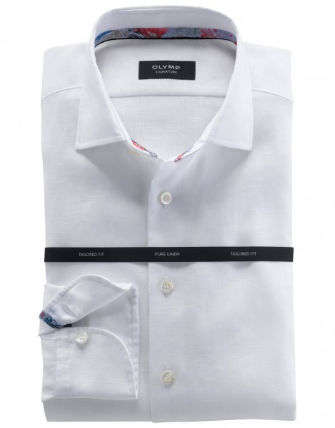 Olymp Signature linnen shirt wit 854454-00